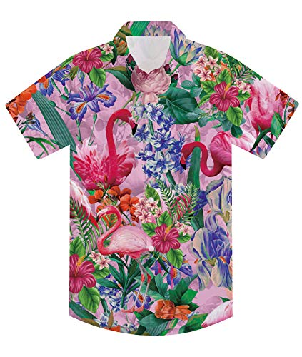 Little Girl's Pink Hawaiian Shirts Tropical Button Down Shirt 3D Flamingo Printed Dress Shirts with Bright Colors Size 7-8