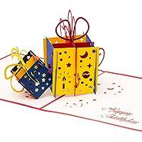 3D Geburtstagskarte - 2 bunte Geschenke - Pop up Karte, Glückwunschkarte Geburtstag, Grußkarte, Geschenkkarte als Gutschein oder für Geldgeschenk, Happy Birthday Card, Geburtstagskarten
