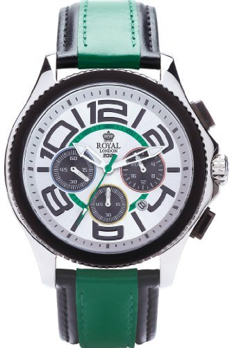 Royal London Men's Quartz Watch with White Dial Chronograph Display and Green Leather Strap 41112-03