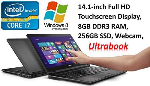 "Dell Latitude E7440 Premium Business Ultrabook PC, 14.1"" FHD Touchscreen, Intel Core i7-4600U, 8GB DDR3L RAM, 256GB SSD, Webcam, Windows 8 PRO (Certified Refurbished) (Touch Screen With Windows 7)"