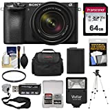 Sony Alpha A6500 4K Wi-Fi Digital Camera & 18-135mm Lens with 64GB Card + Battery & Charger + Flash + Tripod + Case + Kit