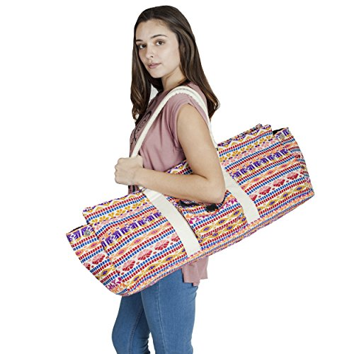 Lakhays Exercise Duffle Cotton Yoga Mat Bag with Pockets