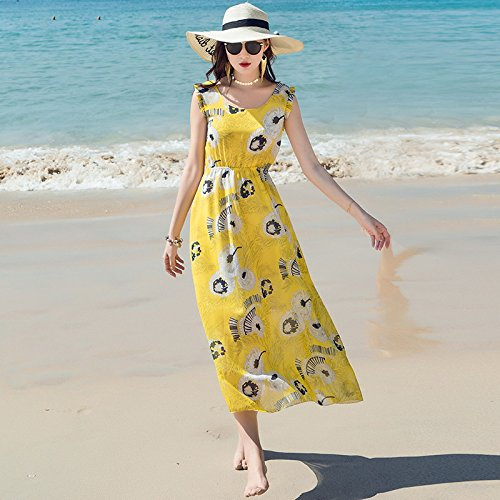 Amarillo Picture Seaside Slim Resort Bohemia Chiffon Señoras Vestido color Hembra ZHUDJ Sello Sling tqwCZPCxz