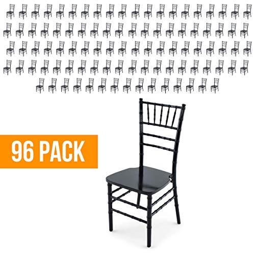 EventStable Titan Series Wood Chiavari Chair - Black, 96-Pack