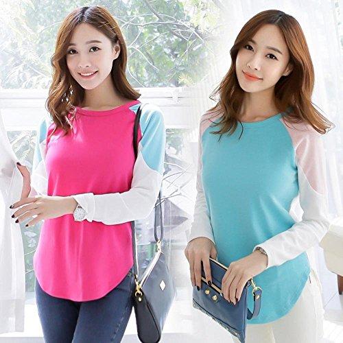 Women's Leisure T-shirt Long Sleeve Irregular T-shirt Size L Green Lake