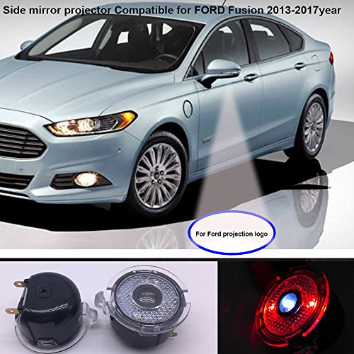 2pcs set Side rear view mirror projector LED ghost shadow puddle logo light compatible for Ford FUSION 2013-2017year No fading color plug and play-JT-FUS