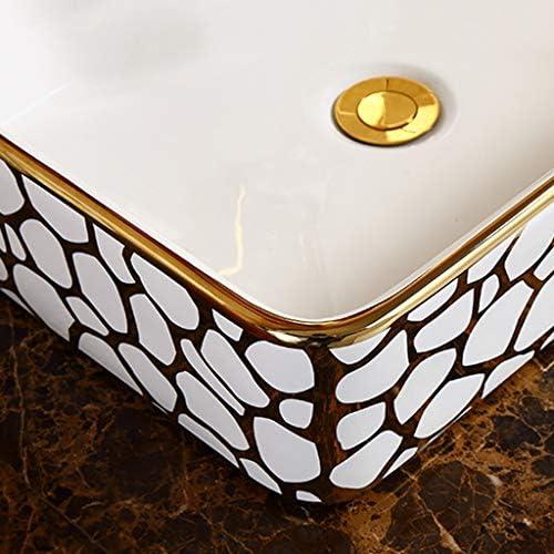 DS- バスルームの洗面台、欧州の正方形のセラミック(タップ無し)カウンタ上記バニティ技術流域単一流域、利用可能な2色 洗面ボール && (Color : A)