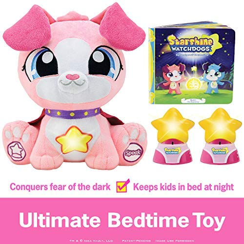 Starshine Watchdogs Skye Talking Stuffed Animal Nighttime Toy, Remote Control Children's Night-Lights, Comforting Phrases, Calming Story Book. 4pc Ready-for-Bed Set. Plus Free Coloring Pages! ()