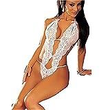 Azisen - Women Deep V Lingerie Sexy Lace Dress Stylish Female Underdress Temptation Nightwear (White)