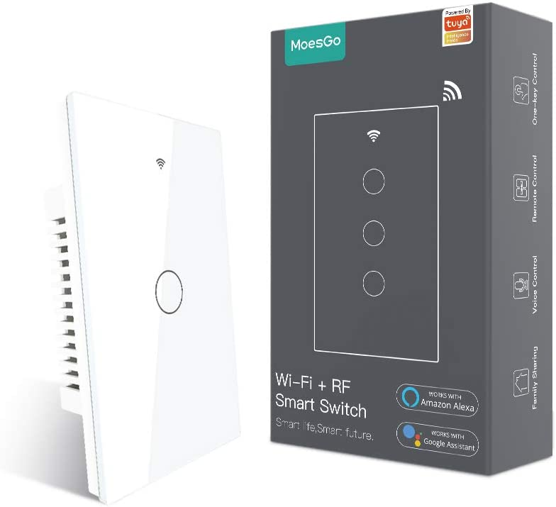 MoesGo WiFi Smart Touch Wall Switch with Single Pole or Multi-Control Association(3 Way), Relay Status optional,Work with Smart Life/Tuya App,RF433 Remote Control,Alexa and Google Home White(1 Gang)