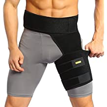 Yosoo Groin Support - Adjustable Neoprene Groin Strain Pain Wrap Compression Recovery Thigh Wrap Provide Pulled Groin Quad Hamstring Hip Injury & Sciatica Support for Men &Women,Black