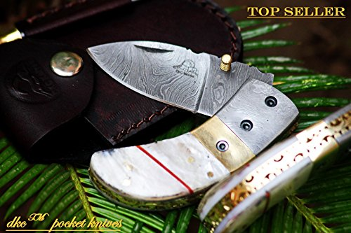 DKC-43-PS-Pearl-Shell-Thumb-Damascus-Steel-Folding-Pocket-Knife-35-Folded-625-Open-75oz-225-Blade-High-Class-Looks-Incredible-Damascus-Bolster-DKC-Knives