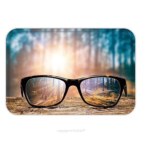 Flannel Microfiber Non-slip Rubber Backing Soft Absorbent Doormat Mat Rug Carpet Glasses Focus Background Wooden Eye Vision Lens Eyeglasses Nature Reflection Look Looking Through 520314205 for - Eyeglasses Nyc