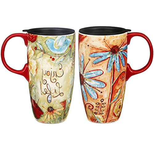 Travel Coffee Ceramic Mug Porcelain Latte Tea Cup With Lid in Gift Box 17oz. Flower Enjoy Life by CEDAR HOME, 2 Pack (Mug Handle With Porcelain Travel)