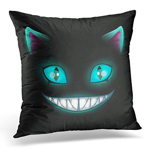 over Blue Smile Fantasy Scary Smiling Cat Face on Black Cheshire Alice Eyes Decorative Pillow Case Home Decor Square 16x16 Inches Pillowcase ()
