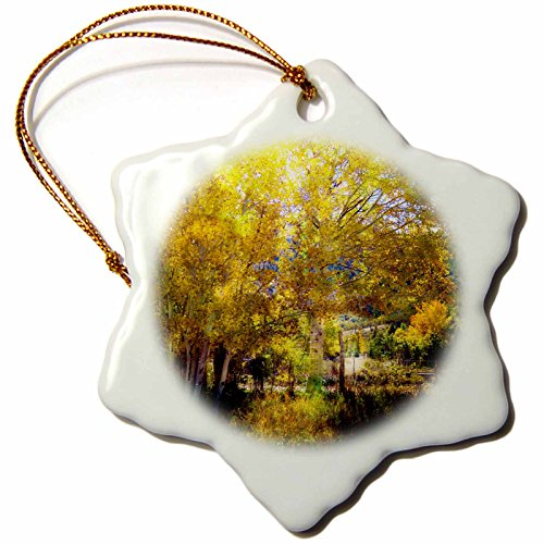 3dRose Jos Fauxtographee- Blended Layer Golden Foliage - A fall scene of trees with light shining behind in a blended layer - 3 inch Snowflake Porcelain Ornament (orn_270193_1) - Harvest 1 Light Pendant