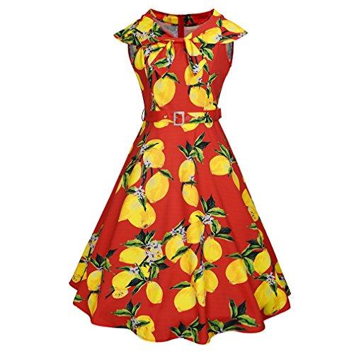 Honghu Verano Retro Cuello Floral Impresión Por la Rodilla Plisado Ajustado Vestido para Mujer Rojo