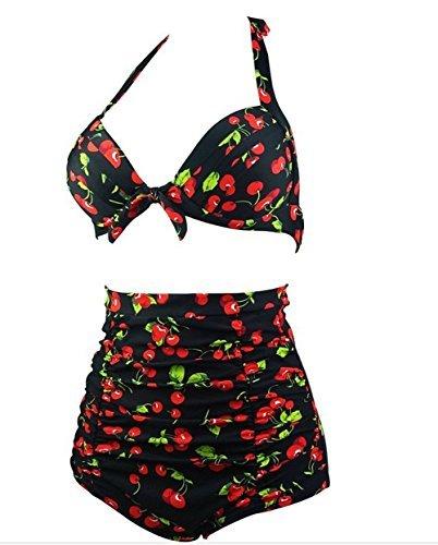 Para mujer Diseño de flores y Hot diseño de lunares de natación para el botón de antigua de Bikini de succión con sus bañadores para que los bañadores de #12