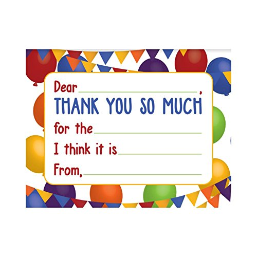 Jot & Mark Thank You Notes for Kids 20 Flat Cards with Self-Sealing Envelopes Included (Balloons)