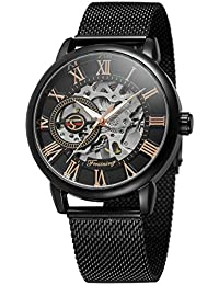 Bestn Men's Hand-Wind Mechanical Wrist Watch Skeleton Design Stainless Steel Band Roman Numeral (Black)
