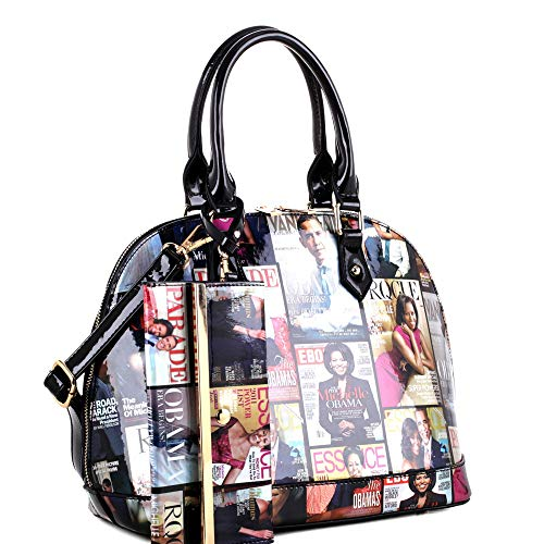 Hologram Patent PU Leather Michelle Obama Magazine Cover Print 2 in 1 Linked Chain Tote Bag Purse SET (Dome-Black) ()