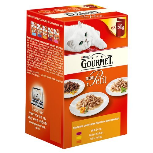 Purina Gourmet Mon Petit with Duck Chicken and Turkey Adult Wet Cat Food, 300g (Pack of 6)