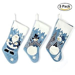 fea357558 Set of 3 Blue and Silver White Snow 20 inch Velvet Christmas Stockings  Elegant Pattern for Christmas Gift – Santa, Snowman