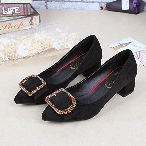 avec Mince pour Polyvalent épais Un Femmes Chaussures Noir 40 et yalanshop nBC1wxTFq