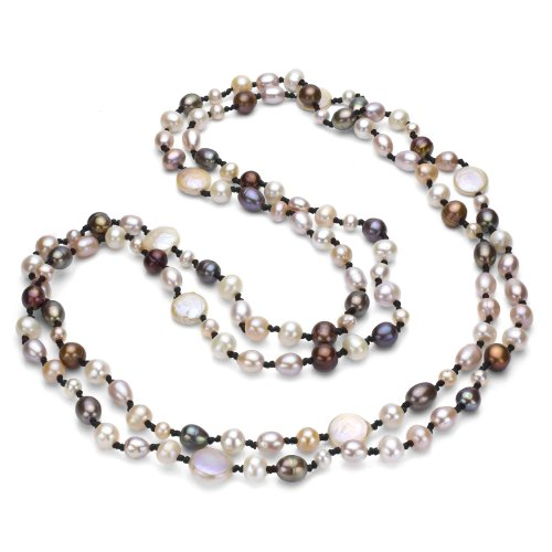 Double-knotted Dyed Multicolor Freshwater Cultured Pearl Endless Necklace, 60