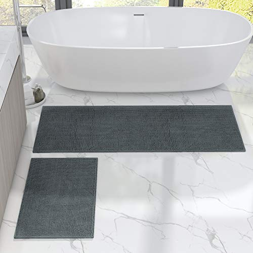 Lifewit Bath Runner Rug Set Chenille 2 Pack Bathroom Mats Soft Kitchen Rug Non Slip Water Absorbent Grey, 20