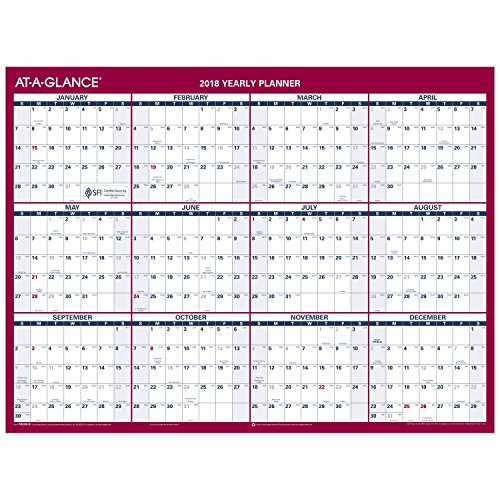 "AT-A-GLANCE Yearly Wall Calendar, 12"" x 15-11/16"", 2-Sided, Vertical, Horizontal Erasable, Compact (PM330B28)"