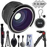Opteka 0.35x Super Wide Angle Panoramic Macro Fisheye Lens For Canon Digital SLR Cameras w/ 18-55mm & 50mm 80D, 77D, 70D, 60D, 7D, T7i, 7D Mark II, T6s, T6i, T6, T5i, T5, T4i, T3i, T3, SL1 & SL2