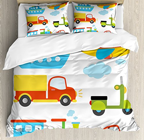 Boy's Duvet Cover Set Queen Size by Ambesonne, Abstract Transportation Types for Toddlers Car Ship Truck Scooter Train Aeroplane, Decorative 3 Piece Bedding Set with 2 Pillow Shams, Multicolor Transportation Multi Duvet Set