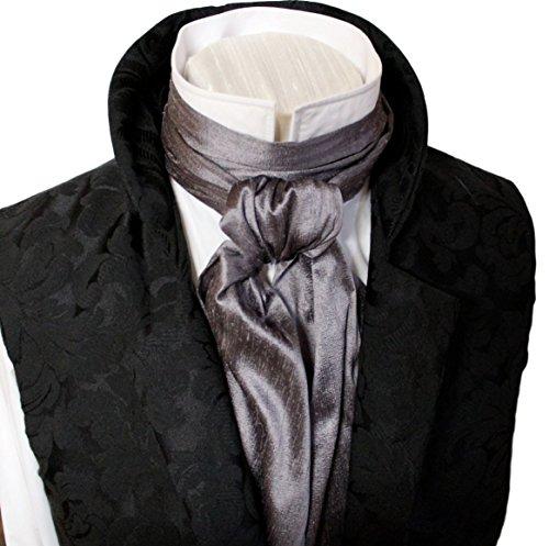 45513e950dfd Elegantascot Men's Handmade Extra-Long Regency Dupioni Silk Ascot Tie  Moonshadow