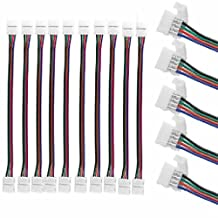 SunbowStar 10 PCS 10mm 4 Pin two Connector with Cable For SMD LED 5050 RGB Strip Light