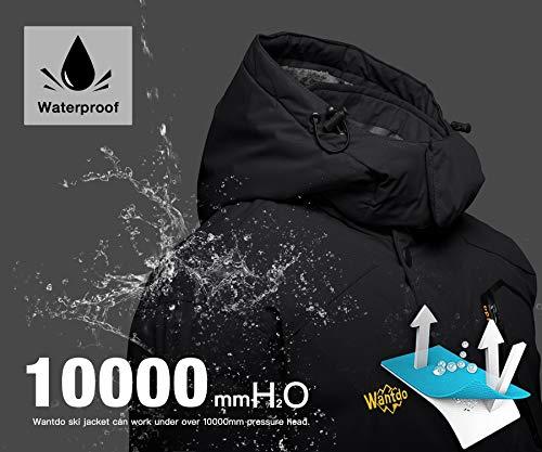 Wantdo Men's Mountain Waterproof Ski Jacket Windproof Rain Jacket Winter Warm Snow Coat 5