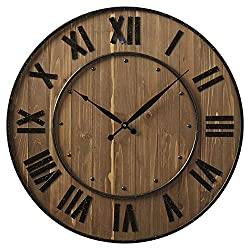 Northrop 24 Black Oversized Wine Barrel Wall Clock, Quartz Movement, Wood and Steel