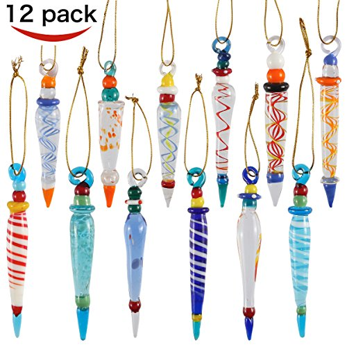 Set of 12 Colorful Glass Icicle Ornaments for Christmas Tree Decorations with Different Designs By Joiedomi (Set Glass Christmas Ornament)
