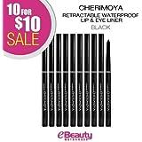 10 for $10 SALE! Cherimoya Retractable Waterproof Lip & Eye Liner (REP01-Black)