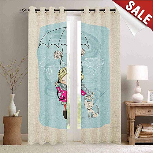Hengshu Kids Drapes for Living Room Little Girl Illustration in Winter Clothes Umbrella and a Cute Dog in Rainy Weather Window Curtain Fabric W72 x L96 Inch Multicolor ()