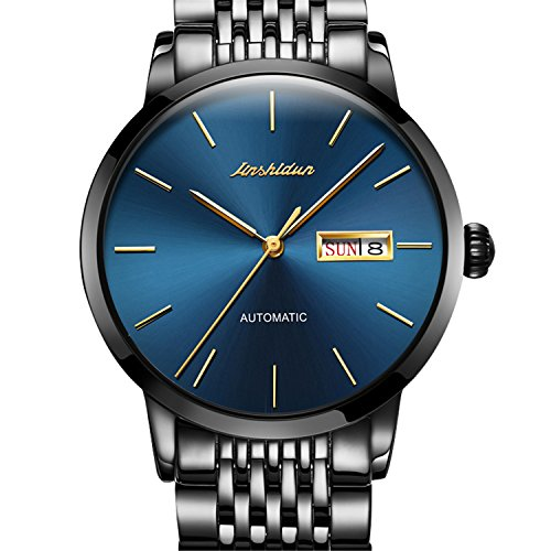 JSDUN Men's Automatic Mechanical Stainless Steel Band Self Winding Wrist Watches with Week & Date Window, Black/Blue Dial