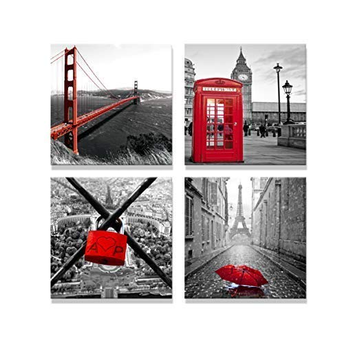 Spoonbills Modern Canvas Print Art for Home Decoration - 4 Panels of City View Painting in London & Paris, Red Love Lock, Bridge, Umbrella, Telephone Booth (16