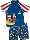 Playshoes Boy's UV Sun Protection 2 Piece Swim Set Swimsuit Pirate Island Shorts, Blue (Original) 12-18 Months