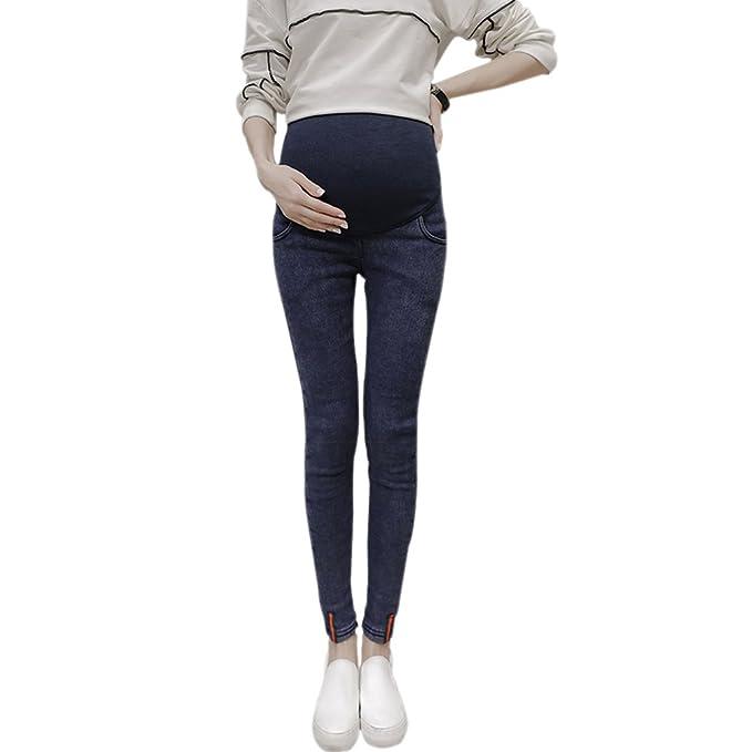 XFentech Las Mujeres Embarazadas de Moda Adelgazan Polainas de Mezclilla de Cintura alta (Azul,