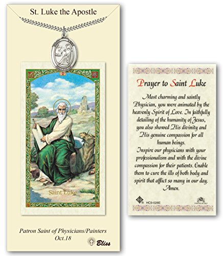 (Pewter Saint Luke the Apostle Medal with Laminated Holy Prayer Card)