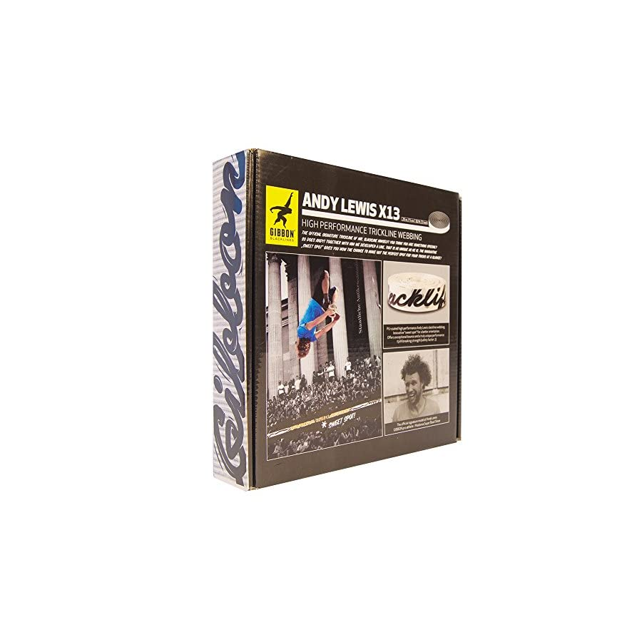 Gibbon Slacklines 13872 Andy Lewis Trickline Webbing, 25m, White/Black