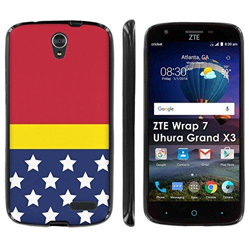 ZTE [Uhura Grand X3 Z959] Soft Mold [Mobiflare] [Black] Thin Gel Protect Cover – [Stars and Stripes] for ZTE [Uhura Grand X3] [Warp 7]