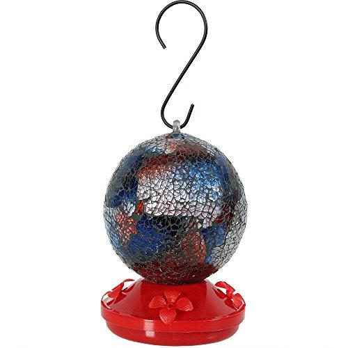 - Sunnydaze Decor Round Glass Mosaic Hummingbird Feeder, Red, 6 Inch