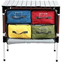 PORTAL Multifunctional Folding Camp Table Aluminum Lightweight Picnic Organizer with Large Zippered Compartment Contains Four Cooler Storage Bags for BBQ, Party, Camping, Kitchen