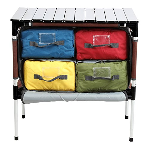 - PORTAL Multifunctional Folding Camp Table Aluminum Lightweight Picnic Organizer with Four Cooler Storage Bags, Brown